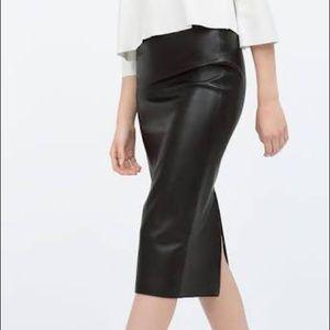Zara Midi Faux Leather Pencil Skirt XS Blue